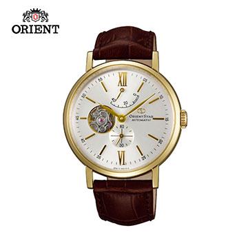 ORIENT STAR โอเรียนเต็ลสตาร์เปิดหัวใจซีรี่ส์สุภาพบุรุษ Small Hollow Mechanical Watch Belt รุ่น WZ0141DK Gold-40.0mm