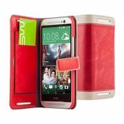 การสวมใส่อย่างง่าย HTC One (M8) ซองหนังด้านข้างเฉพาะ MONTAGE - สีแดง