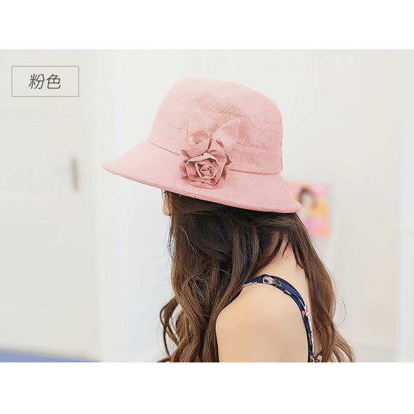 (幸福揚邑)[Yang Yang Yi] Japanese and Korean anti-UV sun hat curling hem foldable sun hat flower fisherman hat - khaki