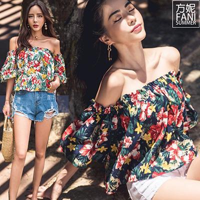 (FANI)◇Finni FaNi◇[Korean version of the flower trumpet sleeves word collar off-shoulder top T?]