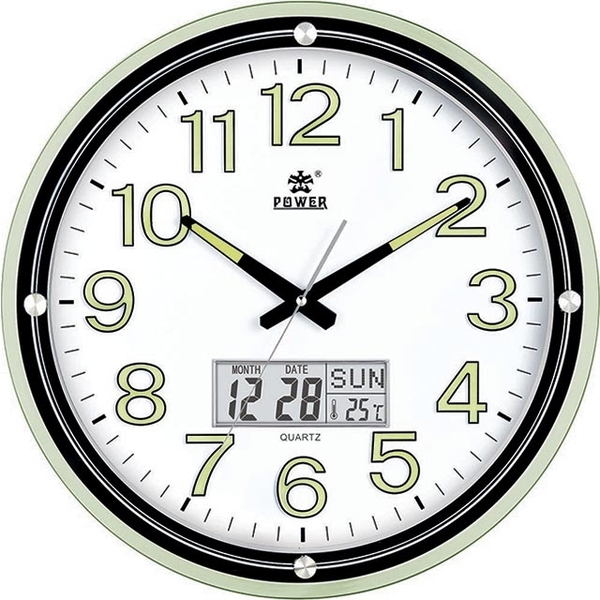 (POWER)[Overlord] fashion design large wide-angle clock face very clear fluorescent digital calendar temperature mute big wall clock -44CM