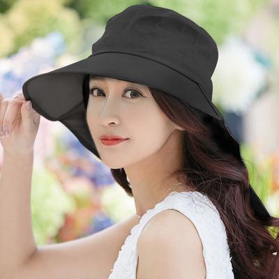 (幸福揚邑)[Happy Happiness] Refreshing and elegant UV-resistant neck guard Large hat can roll Dew visor - Black