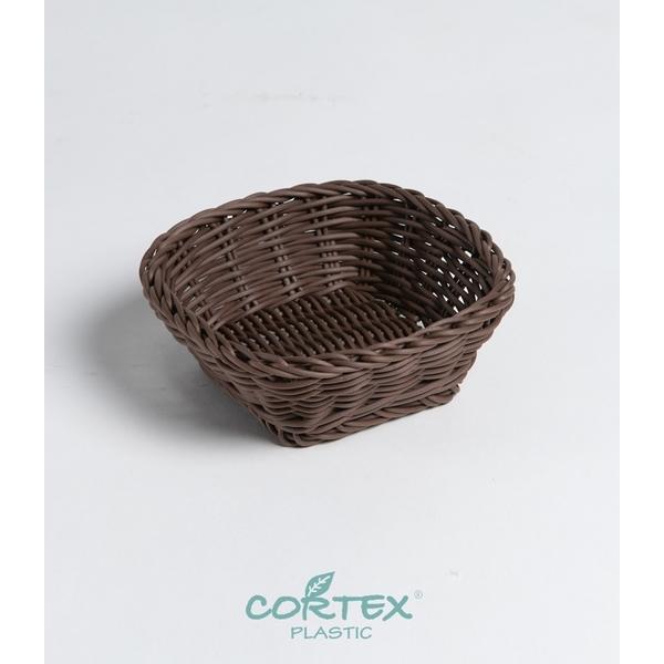 CORTEX mini square dark brown woven basket W16-