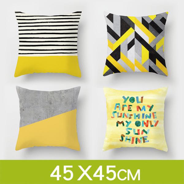 (Wood)Tata ☆Modern minimalist Nordic style [yellow] pillowcase cushion (without pillow/45*45cm)