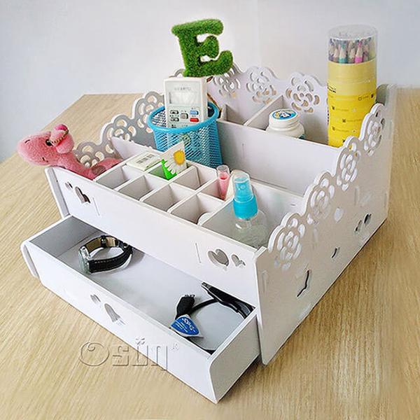 (Osun)[Osun] DIY wood plastic board two-layer desktop storage finishing box cosmetic jewelry box (CE178-S008)