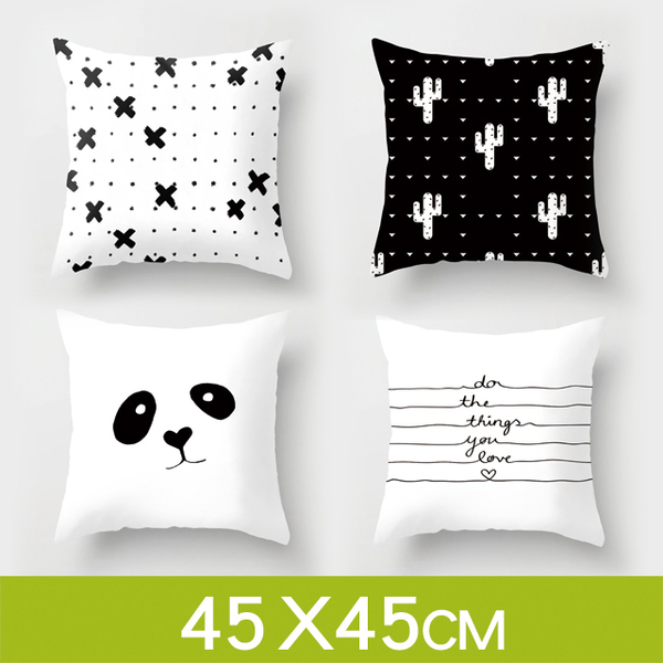 (Wood)Tata ☆Modern and simple Nordic style [black and white] hug pillow cushion (without pillow / 45*45cm)