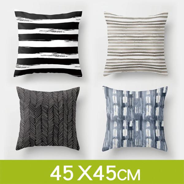 (Wood)Tata ☆Modern minimalist Nordic style [black and white stripes] hug pillow cushion (without pillow / 45*45cm)