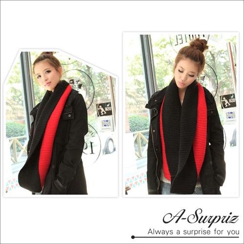 ผ้าพันคอคอทูโทน A-Surpriz (สีดำและสีแดง)
