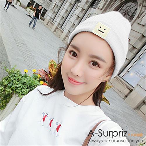 (A-Surpriz)A-Surpriz Box Smiley Face Buckled Wool Cap (White)