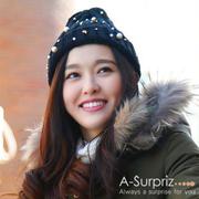 A-Surpriz ปักหมวกขนสัตว์หวาน studded ปัก (ขนดาวสีดำสีทอง)