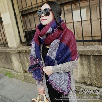 (A-Surpriz)A-Surpriz geometry twill four fringed scarves to increase thickening (dark)