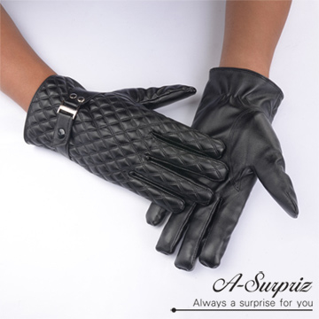 (A-Surpriz)A-Surpriz handsome lozenge ring male touch leather gloves (black)