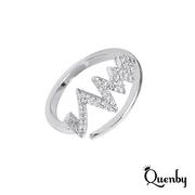 Quenby ความถี่ง่ายฝังไมโครเพทายปรับเปิดนิ้วชี้แหวนนิ้วกลาง / เงิน