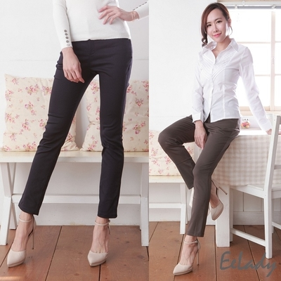 [EE-LADY] Modeling v-type buckle pocket elastic straight pants (two colors)