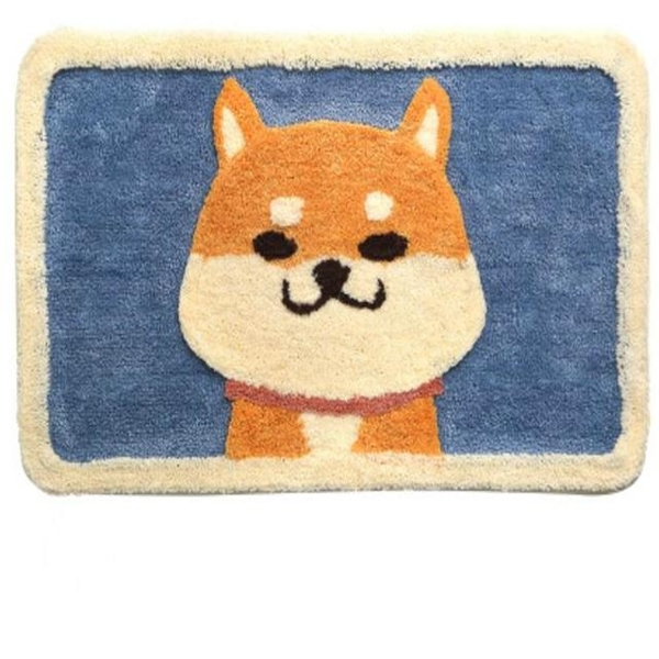 Thick double-layer high and low hair cartoon floor mat door bathroom porch mat foot mat 50*80cm-Akita dog