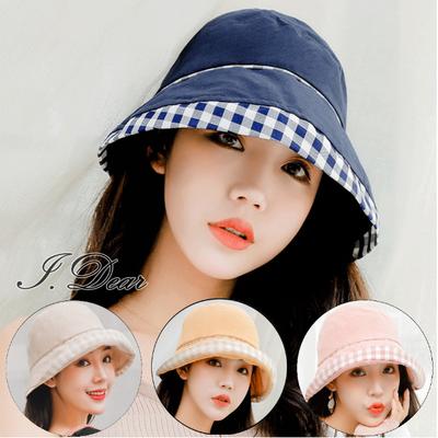 [I.Dear] ญี่ปุ่นและเกาหลีใต้สี่ฤดูกาลครีมกันแดด windproof สีทึบตรวจสอบผ้าฝ้ายใบหน้าเล็ก ๆ ชาวประมงหมวก (5 สี)