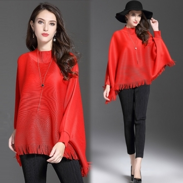 [Korea KW] KM784 carved openwork lace knit long-sleeved shirt - red
