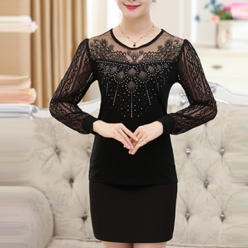 [Korea KW] KM784 carved openwork lace knit long-sleeved shirt - black