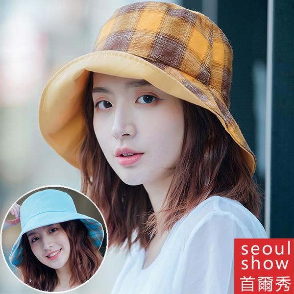 (Seoul Show)Seoul show Seoul show double-sided wearing plaid fisherman hat four seasons sun visor