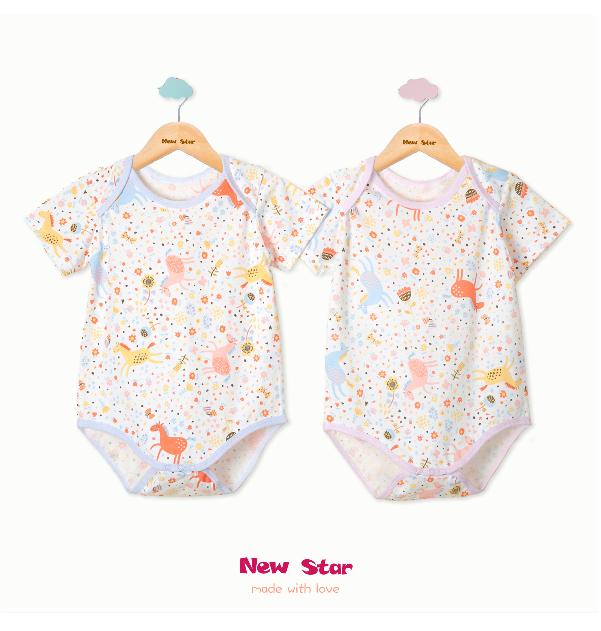 [Newstar] Pony Baby บอดี้สูทแขนสั้นสำหรับเด็กเล็ก ผลิตจากผ้าฝ้าย สีฟ้า/ชมพู