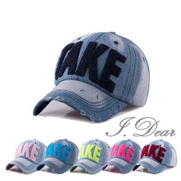 (I.Dear)[I.Dear] Korea TAKE Rainbow Fluorescent Letter Denim Sunshade Baseball Cap (5 colors)