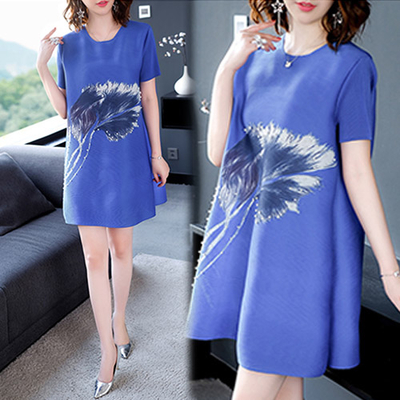 (【韓國K.W.】)[Korea KW] KBN4418 Tropical Flower Rhinestone Totem Embossed Dress - Blue