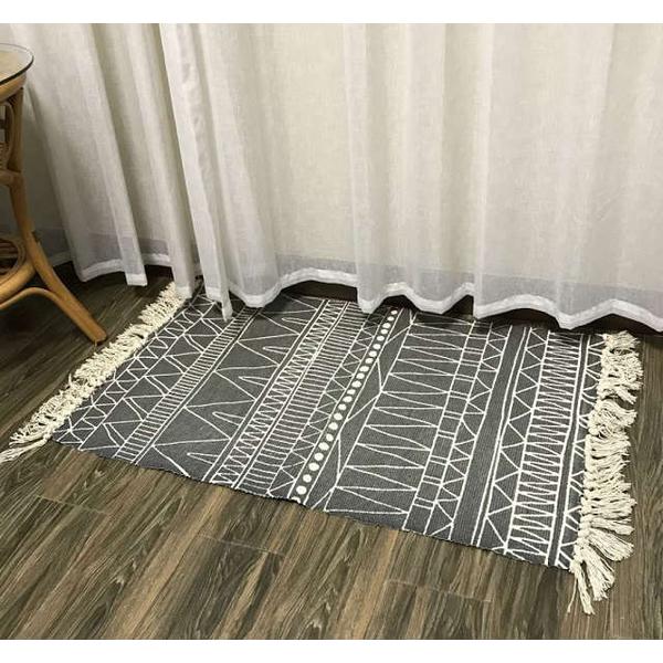 Nordic simple modern cotton floor mat carpet door mat multifunctional sofa cushion 60*90cm-cotton thread 3