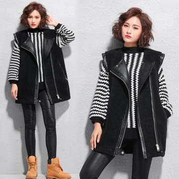 [Korea KW] KMM1184 fashion personality lamb cashmere warm vest jacket - black