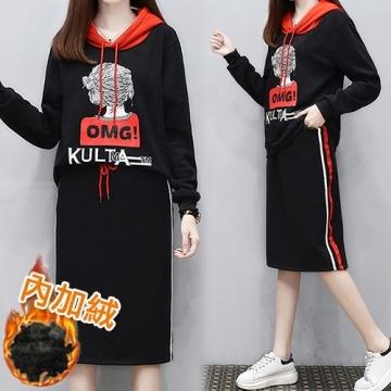 [South Korea] KQM786 K.W. fashion casual plus velvet warm hooded suit - black