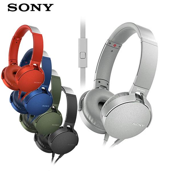 (SONY)SONY MDR-XB550AP EXTRA BASSTM Earmuffs Headphones MIC-Blue