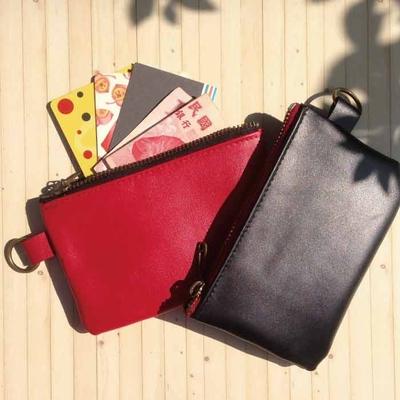 SUN-FISH [อุณหภูมิหนัง] กระเป๋าเงินเหรียญสากล - สีแดง