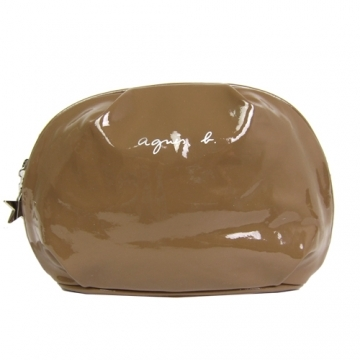 (agnes b)Agnes b glossy soft leather cosmetic bag (large / brown)