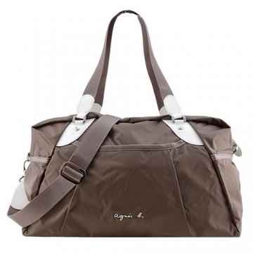 (agnes.b)Agnes b. VOYAGE metal LOGO windbreaker travel bag (small / coffee)