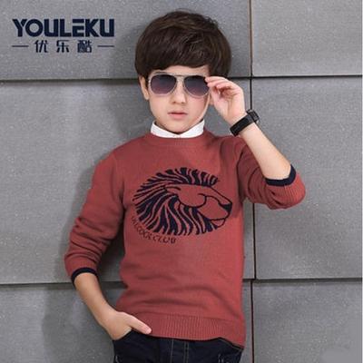 เสื้อกันหนาวคอตต้อนผ้ายืดสำหรับเด็กชาย Brick Red
