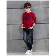 เสื้อกันหนาวคอตต้อนผ้ายืดสำหรับเด็กชาย Red