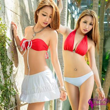 (Sexy Cynthia)[Sexy Cynthia] red and white big battle! Variety has a three-piece bikini set ※ chest pad attached