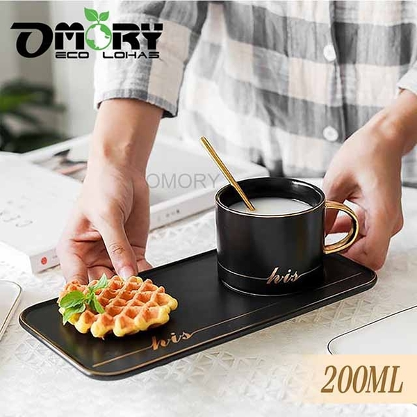 [OMORY] ชุดถ้วยกาแฟสไตล์ยุโรป (พร้อมช้อน) 200 มล. - ดำ
