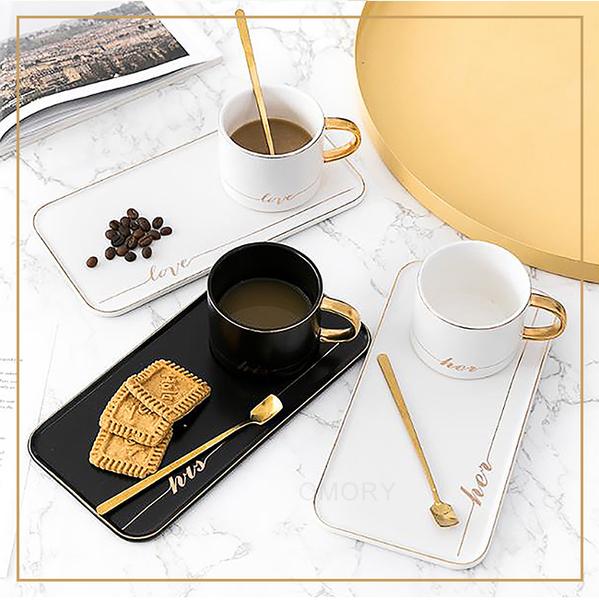 [OMORY] ชุดถ้วยกาแฟสไตล์ยุโรป (พร้อมกุญแจ) 200 มล. - ดำ