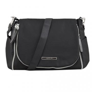 (agnes b)agnes b. VOYAGE bilateral zipper clamshell messenger bag (black)