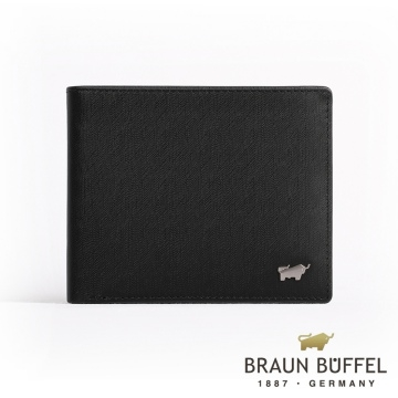 (braun buffel)[BRAUN BUFFEL] Germany Little Golden Bull HOMME-M Gentleman Series 8 Card Wallet (Black)