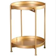 นอร์ดิกที่เรียบง่ายรอบคู่โต๊ะกาแฟเหล็กดัดโต๊ะข้าง - ทอง