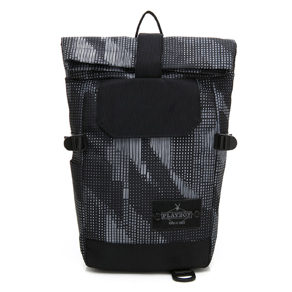 (PLAYBOY)PLAYBOY- shoulder bag can also be used as a backpack lifestyle style - grey