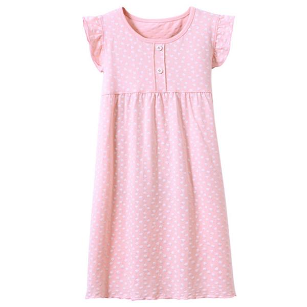 [Ubee selection] high quality sweet lotus leaf show love children's long skirt pajamas - pink