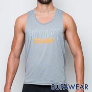 SUPAWEAR เสื้อใส่ออกกำลังกาย มีโลโกสะท้อนแสง แห้งเร็ว ระบายอากาศดี (สีเทาอ่อน)