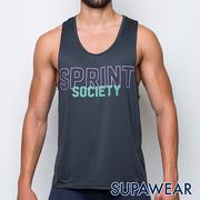 (Superwear) Superwear สะท้อนแสงโลโก้แห้งเร็วระบายอากาศการออกกำลังกายวิ่งจ๊อกกิ้งกีฬาเสื้อกั๊ก (สีเทาเข้ม)