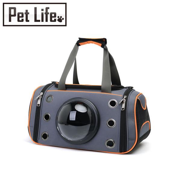 Petlife สัตว์เลี้ยงสัตว์เลี้ยงแบบพกพาเดินทางช่องระบายอากาศแบบพกพาออกแบบพื้นที่สีเทาสีส้ม
