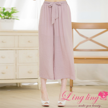 Lingling large size A3336-01 light recommended like Ma yarn cool sense straight seven points wide pants (comfortable purple powder)