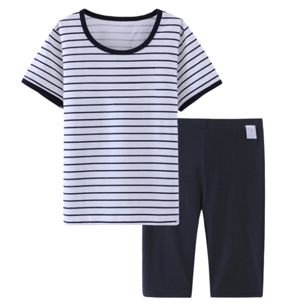 [Ubee selection] high quality handsome navy boy cotton air conditioning essential home clothes - stripes