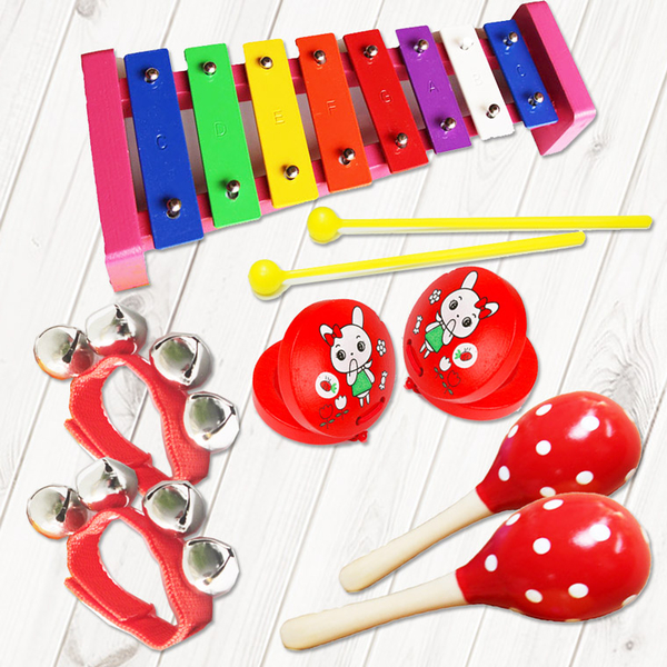 [Mega Music] Orford percussion instrument / children's musical instrument 6 piece group (including bag) - red