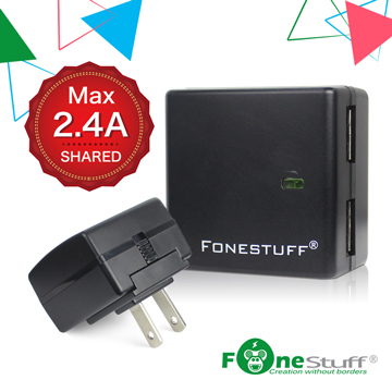 FONESTUFF แท่นชาร์จซ็อกเก็ตบล็อก USB คู่รุ่น King King 5V / 2.4A - สีดำ
